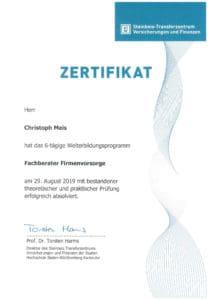 Fachberater-Firmenvorsorge-Zertifikat-Christoph-Meis